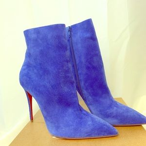 Christian Louboutin blue suede bootie